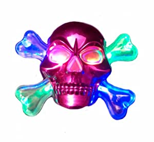 WeGlow International Light Up Chrome Skull Necklace, Pink, 4-Piece
