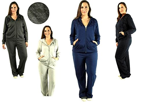 2 Piece PLUS SIZE Womens Velour JOGGING set Hoodie winter Track Suit W/ LACE
