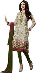 Begum Riwaaz Women's Georgette Unstitched Dress Material(1003, Green)