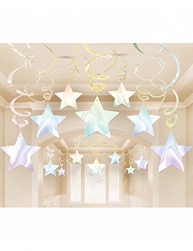 Amscan Lustrous Iridescent Shooting Star Swirl Decorations Mega Value Pack, Multicolor