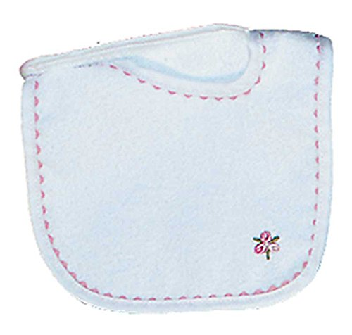 Raindrops Girl Appliqued Bib, White/Pink - 1
