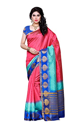 Mimosa Women's Traditional Art Silk Saree Tassar Silk With Blouse Color:Multi(3304-3032-3D-STRAW )  available at amazon for Rs.999