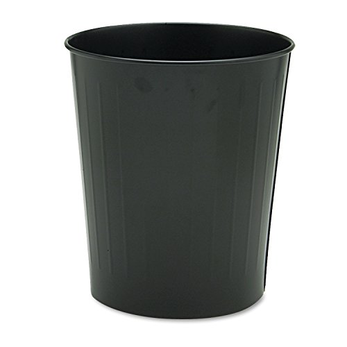 Safco Products 9604BL Round Wastebasket, 23-1/2 Qt. (Qty. 6), Black