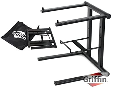 Floding DJ laptop Stand with Tray Computer PC Table Top Mount Holder Studio Mixer Rack Gear by Griffin