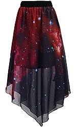 Chouyatou Pleated Chiffon Galaxy Cosmic Digital Printed Skirts