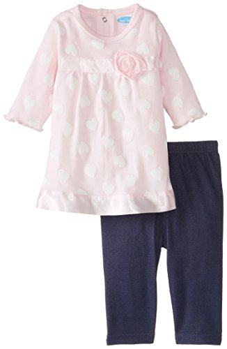 Bon Bebe Baby-Girls Newborn All Over Heart Print 2 Piece Dress And Legging Set, Multi, 6-9 Months front-1046183
