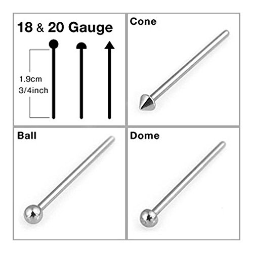 "{20 Ga - Dome} Stainless Steel Fishtail Nose Stud - Bend To Fit Your Piercing - 3/4"" Long - 20 Ga"