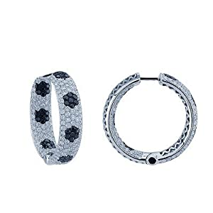 White and Black Diamond Hoop Earrings in 14K White Gold