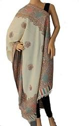 matelco cream woollen polyster shawl