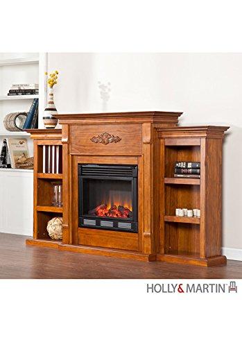 Holly & Martin Fredricksburg Electric Fireplace w/ Bookcases-Glazed Pi