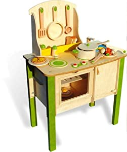 Classic french wooden kitchen set toys games for Kitchen set games
