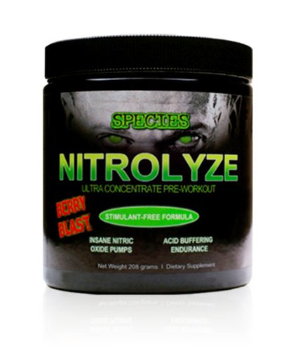 Nitrolyze Berry Blast By Species Nutrition - Stimulant Free Ultra Concentrated Pre-Workout Supplement (25 Servings)