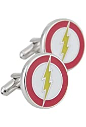 FDDealz - Rhodium Plated The Flash Cufflinks Super Hero Cuff Links