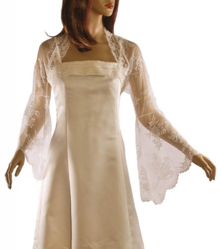Grace and Flair Ivory Lace Long Bell Sleeve Bolero Shrug