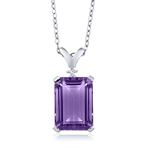 6.52 Ct Natural Purple Amethyst & White Diamond 925 Sterling Silver Pendant