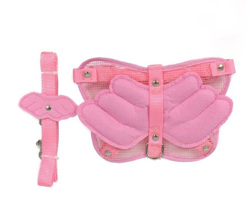 SKL Hot Angle Wing Pet Accessory Safety Dog Harness Set with Leash (Pink, M)