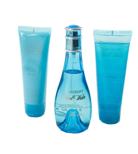 Cool Water By Davidoff Gift Set -- 3.4 Oz Eau De Toilette Spray + 2.5 Oz Body Lotion + 2.5 Oz Shower Breeze For Women (Cool Lotion compare prices)