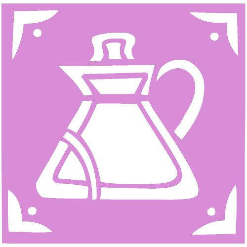 Cofee Tea Pot Kettle Decal Sticker (Pink, 11 Inch, Mirrored)