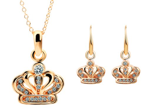 Rose Gold Plated CZ Imperial Crown Pendant Necklace And Earrings Jewelry Set-SN3658