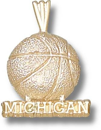 Michigan Wolverines Michigan Basketball Pendant - 14KT Gold Jewelry by Logo Art
