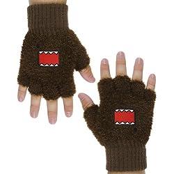 Domo - Mens Domo - Face Fingerless Gloves Brown