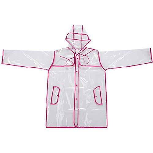 Mokingtop® EVA Raincoat Outdoor Transparent Waterproof Coat (Hot Pink)
