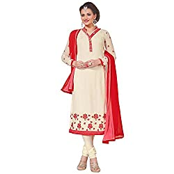 Momai Creation Women's Faux Georgette Off-White Unstitched Dress Material (MCV-Prachi-1002)