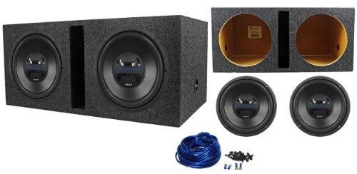 "Package: (2)Hifonics Hwx12D4 12"" 1400 Watt Peak / 700 Watt Rms Dual 4-Ohm Car Subwoofers + Rockville Rdv12 Dual 12"" 1.55 Cu.Ft. Vented Subwoofer Enclosure + Dual Enclosure Wire Kit With 14 Gauge Speaker Wire + Screws + Spade Terminals"