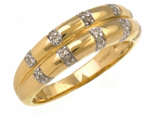 Ladies' Diamond Ring, 9 Carat Yellow Gold set with Vertical Diamond Band Detail