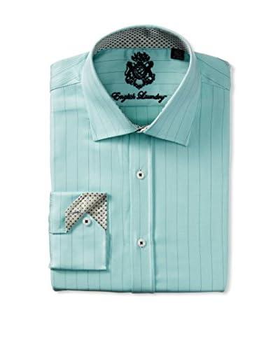English Laundry Men's Twill Thin Stripe Dress Shirt