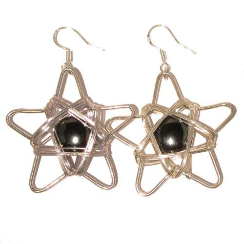 Magnetite Earrings 03 Star Sterling Silver Black Magnet Stone Reiki Healing Meridian Energy Dangle 2.1