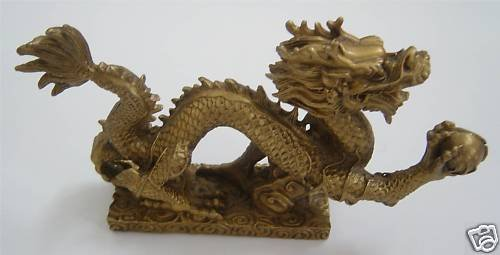 Large Brass Dragon Statue Figurine 8.75″