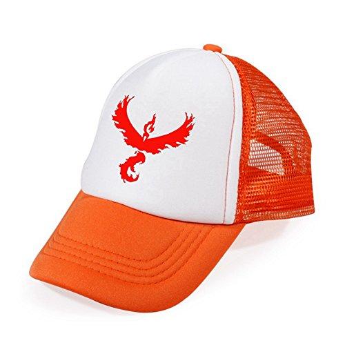 [CG Costume Pokemon GO Team Valor Mesh Cap Hat Orange] (Orange Hat Costume)