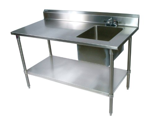 John Boos EPT6R5-3060GSK-R Stainless Steel Prep Table with Sink Bowl, Galvanized Undershelf, 60″ Length x 30″ Width, Right Hand Side