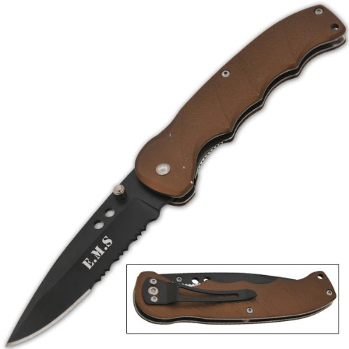 Tiger USA Tactical Manual Folding Knife - Lightweight 3.5 Ounces - 3 Inch Blade Half Serrated - 8 Inch Overall Length - 4.5 Inches Closed - High Carbon German Steel (E.M.S. Olive Drab)