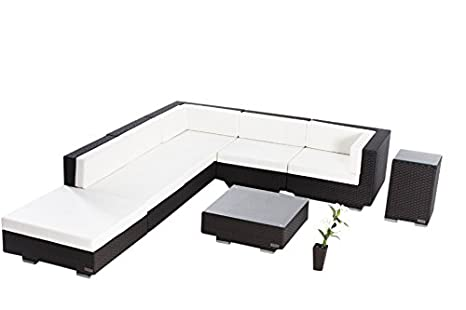 OUTFLEXX exklusives Loungemöbel Sofa Set aus hochwertigem Poly-Rattan in braun fur 6 Personen inkl. angenehm weiche Polster, Kaffee- und Beistelltisch mit klarer aufliegender Glasplatte, wetterfest