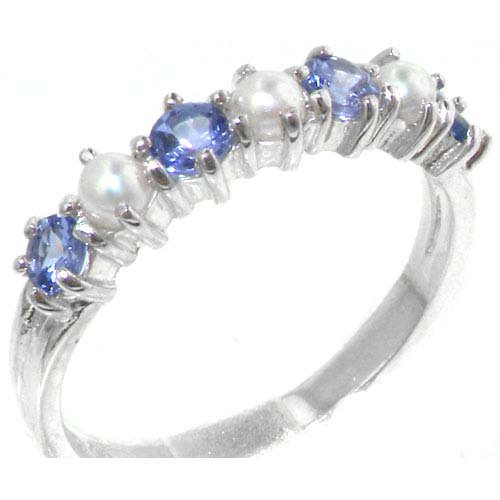 Elegant Solid Sterling Silver Natural Tanzanite & Pearl Ladies Eternity Ring - Size 11.75 - Finger Sizes 4 to 12 Available - Suitable as an Anniversary ring, Engagement ring, Eternity ring, or Promise ring