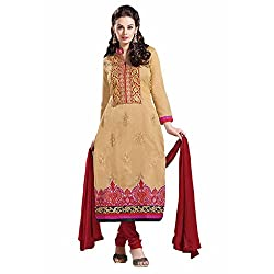 Ashika Women Cotton Dress Material (8566 _Beige And Maroon _56)