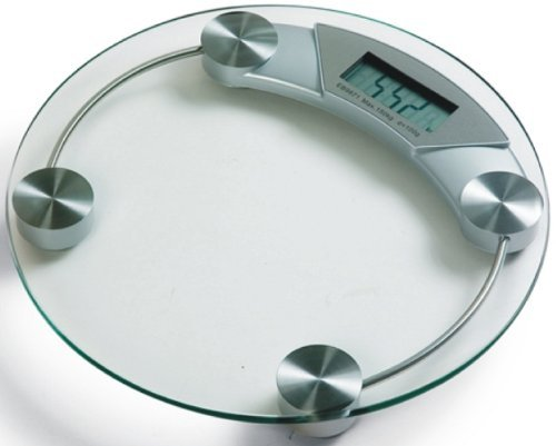 Waagen Pèse-personne rond avec surface transparent et 4 pieds Charge maximale 150kg