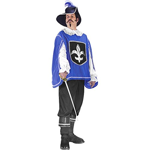 Men's Blue Musketeer Halloween Costume (One Size)