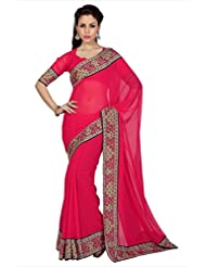 Designersareez Women Tomato Red Faux Georgette Digital Printed Border Saree With Unstitched Blouse (1603)