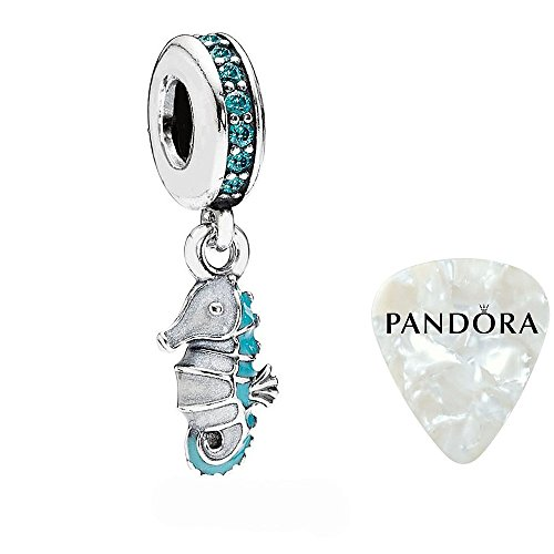Tropical Seahorse, Teal CZ, Turquoise & White Enamel Charm, Two Piece Bundle, with Pandora Clasp Opener