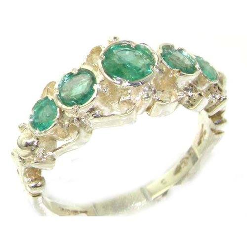 Solid White Gold Genuine Natural Emerald Ring of English Georgian Design - Size 9.25 - Finger Sizes 5 to 12 Available