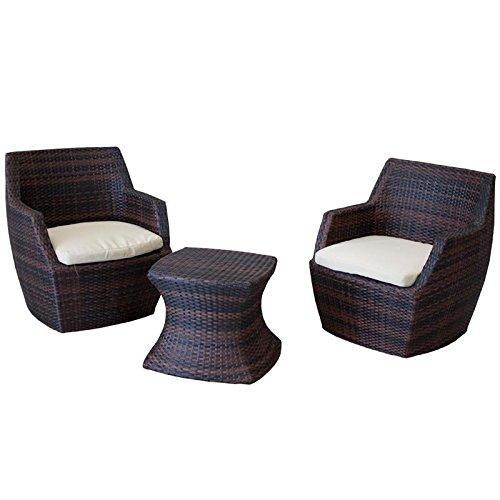 Sitzgruppe Borneo braun 3-teilig Balkon Terasse Polyrattan inkl. Kissen robust Intergarden wetterfest Stuhl Tisch Set Sessel online kaufen