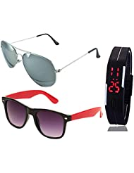 SILVER MERCURY AVIATOR SUNGLASSES AND BLACK RED WAYFARER SUNGLASSES WITH TPU BAND RED LED DIGITAL BLACK DIAL UNISEX...
