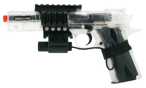SoftAir Colt 1911 6-Inch Target Model Spring Powered Airsoft Pistol with Laser (Clear)