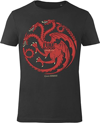 GOZOO Game of Thrones T-shirt Uomo House Targaryen - Fire and Blood 100% Cotone, Stampa di Alta Qualitá Nero XL