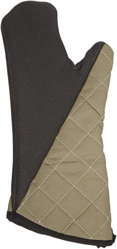 "San Jamar 810Cm15 Textured Neoprene Bestgrip Conventional Temperature Protection Oven Mitt With Magnet And Webguard, 15"" Length, Tan back-611185"
