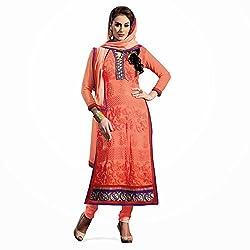 Pavani Women's Georgette Semi Stitched Dress Material (D1500136_Orange_Free Size)
