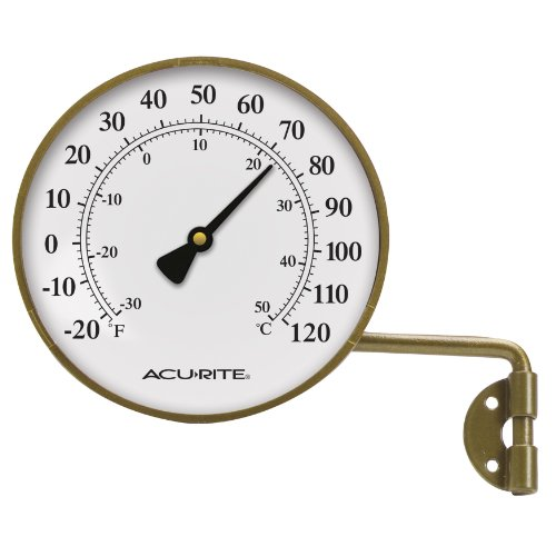 AcuRite 00334 4-Inch Brass Swivel Thermometer (Acurite Window Thermometer compare prices)